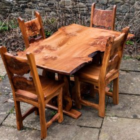 Single Plank Burr Elm Kitchen Table